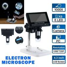 1000x 43 Lcd Screen Digital Video Electronic Microscope 8led Magnifier Camera