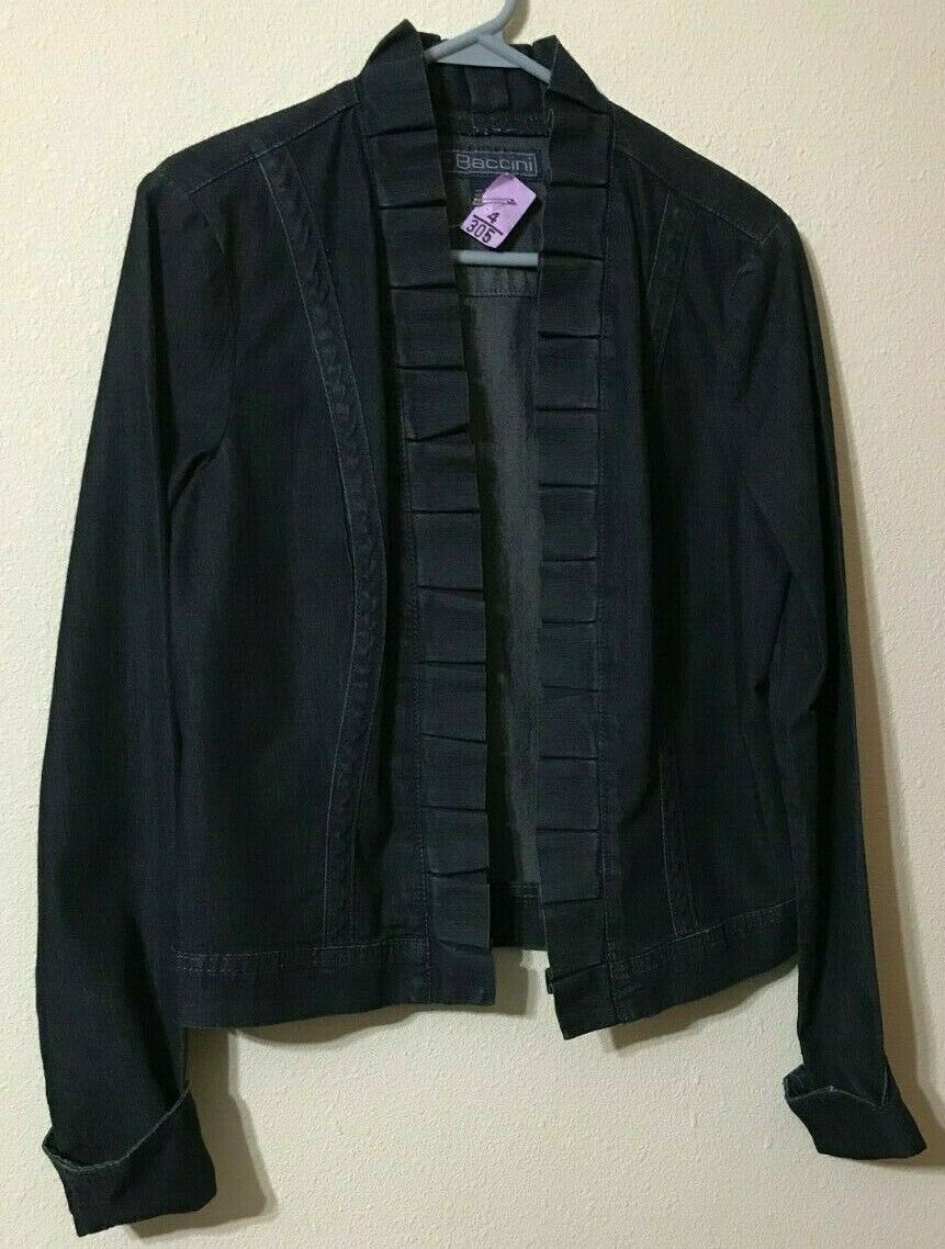 Baccini Denim Jacket Size Medium Pleated Accents at Neck to Hem Washes Cotton
