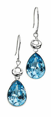 Sterling Silver Large Blue Pear Shaped Crystal Stone Hook Wire Drops ES/E3819T