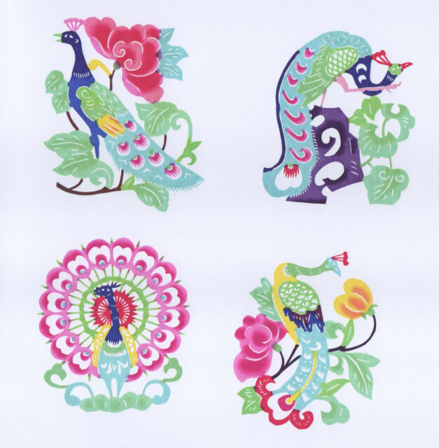Chinese Paper Cut Peacock Set 10 colorful small pieces Handmade