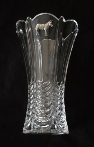 Farm Donkey Vase Fluted Cut Crystal Glass Vase Farming Gift 108