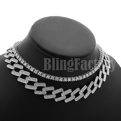 "Hip Hop Iced Silver PT 18/"" Prong Cuban /& 1 Row CZ Tennis Choker Chain Necklace"