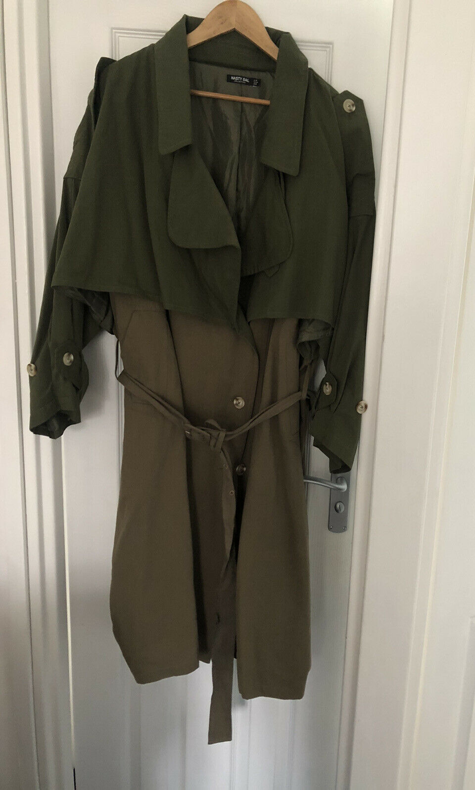Nasty gal Army Green Khaki Trench Coat Oversized Long Lightweight Size Uk 16
