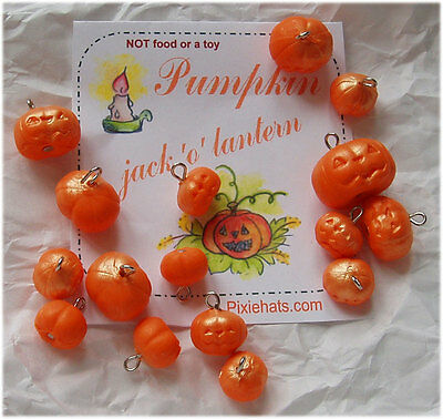 Pumpkin beads - jack 'o' lantern charms - samhain halloween gifts autumn harvest