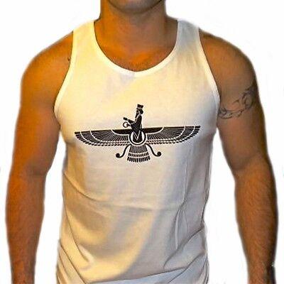 Amichevole Uomo Farvahar Canottiera Persia Arte Regalo Pahlavi Kingdom Faravahar T-shirt Prestazioni Affidabili