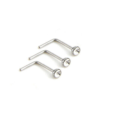 3x Nose Stud Surgical Steel 3mm Clear Gem L-Shape Pin Straight Piercing