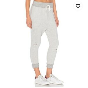Sundry-Grey-Gray-sweatpants-Cinch-Cropped-Tie-Waist-Size-1-distressed-style