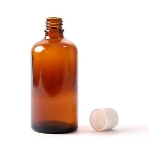 100ml-Amber-Glass-Boston-Round-Bottle-With-White-Tamper-Evident-Cap-x-90