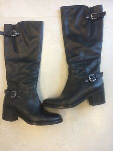 cd22bd54ae Geox black leather Lady's knee high boots size 38.5 UK 5.5 excellent ...