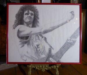 1986-Original-Pencil-Drawing-of-BRIAN-MAY-QUEEN-Signed-Fan-Art-A-Kind-Of-Magic