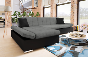 Image Is Loading Sofa Malvi Leather Amp Fabric Corner L Shape