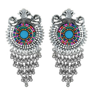 Jwellmart Indian Afghani Style Lightweight Oxidized Fashion Jhumka Earrings