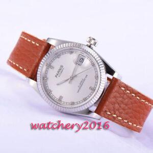 36mm-Parnis-Weiss-dial-Saphirglas-Miyota-Automatisch-movement-Uhr-Women-039-s-Watch