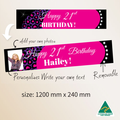 Personalised 21st Happy Birthday Pink Fabric Party Banner Decorations  Diamonds
