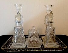 Vintage Cut Glass Dressing Table Set-Trinket Ring Perfume Candle Holders