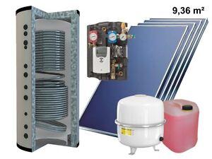 Solaranlage-Komplettpaket-Flachkollektor-Hygienespeicher-Kombispeicher-500L-10m