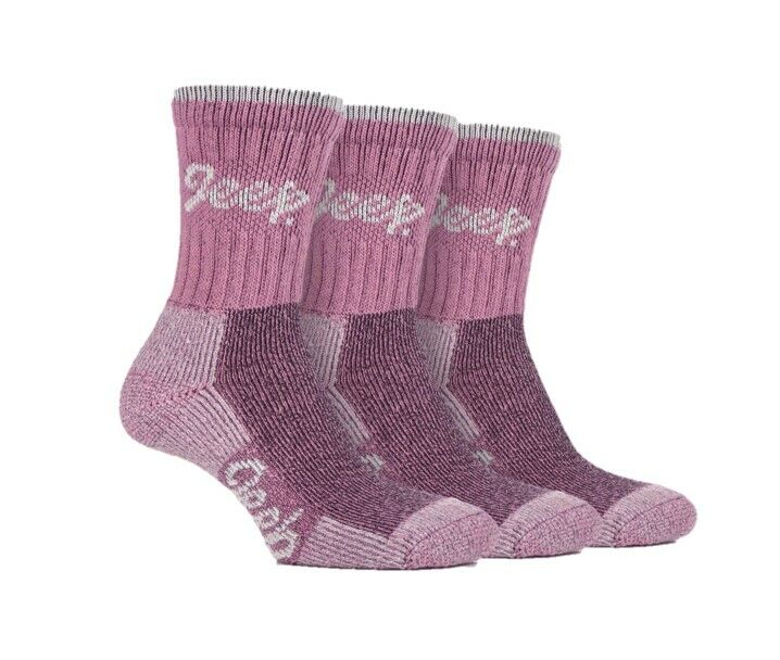 3 pairs Ladies Jeep Terrain Cushion sole Cotton Hiking Socks UK 4-7 EUR 37-41