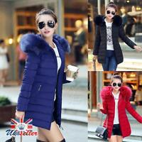 Ladies Fur Lining Coat Womens Winter Warm Thick Long Jacket Outdoor Hooded Parka