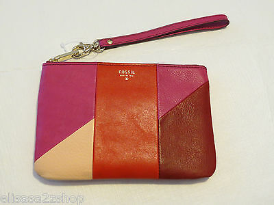 Fossil SL4853995 Giftable Patchwork Small Wristlet Pouch Red Multi leather NWT*^