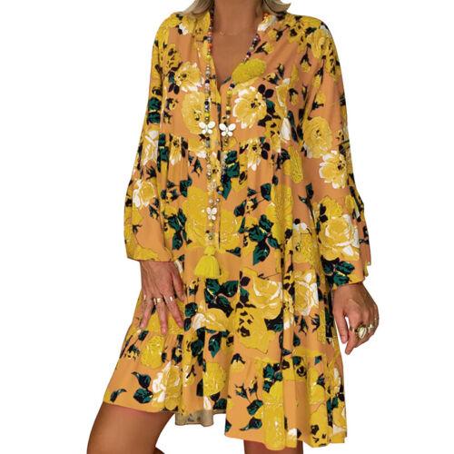 UK Women Boho Maxi Floral Dress Casual Ladies Long Sleeve Long Flower Dress Size