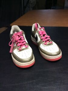 Girls Nike Air Force 1 Gold Black White Pink Low Top Shoes Size