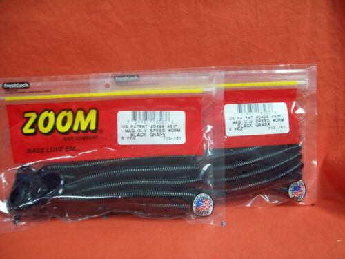 #113-161 BLACK GRAPE ZOOM Mag UV Speed Worm 8 cnt 2 PCKS
