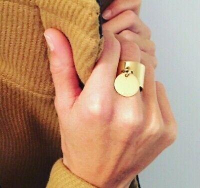 Bague T.51 Femme Acier inoxydable doré/&pendentif,médaillon,pastille ronde Neuve