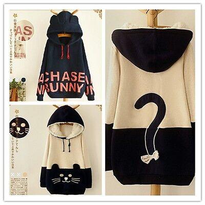 Japanese Mori Kawaii Girl Letter Hoodie Cat Face With Cute Ear Sweater Shirt