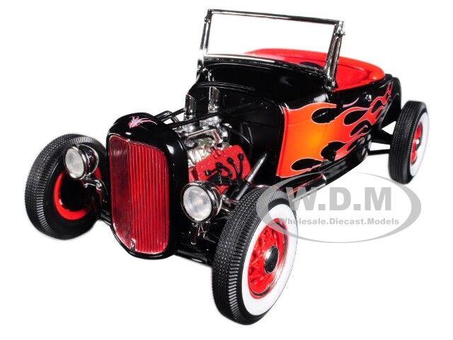 1932 Ford Hot Rod noir avec flammes Ltd 650PC 1 18 Moulé Sous Pression par ACME A1804002