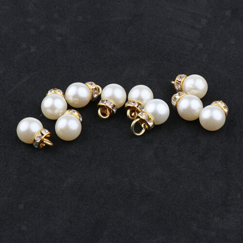 10x Pearl Crystal Charms Pendentifs pour À faire soi-même Collier Jewelry Making Craft 10 mm
