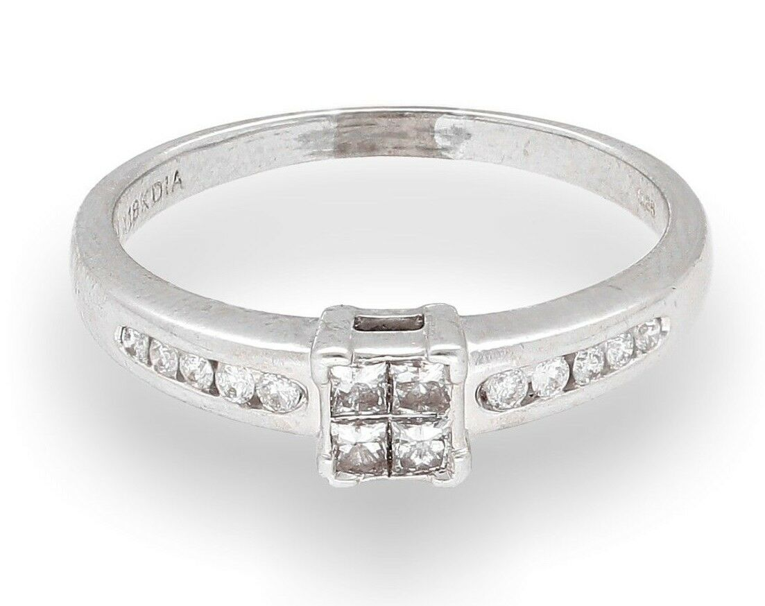 18Carat White gold 0.25ct Diamond Princess Tension Cluster Ring (Size O 1 2)