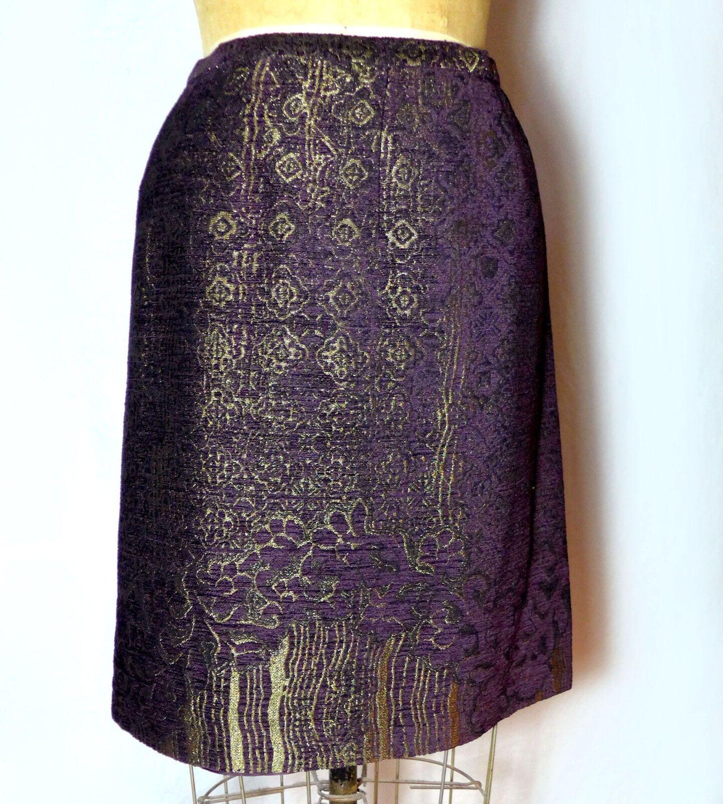 Anna Sui Never Worn Burgundy Metallic gold Brocade Tapestry Evening Skirt