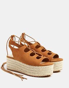65bb2c74d623 Bershka Jute platform Wedge sandals lace-up Size UK 5 / US 7.5 / EU ...