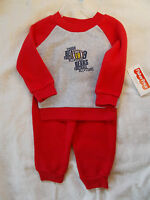Fisher Price 2 Piece Shirt & Pants Fleece 12 Mos. Football Winter Outfit