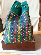 Vtg Bag Purse Cross Body Long Draw String Green Embroidery Beaded Mirrors Hippie