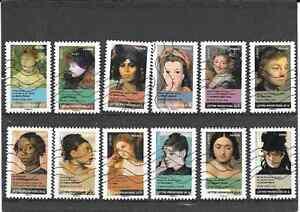 FRANCE-2012-PORTRAITS-DE-FEMMES-SERIE-COMPLETE-DE-12-TIMBRES-AA-OBLITERE