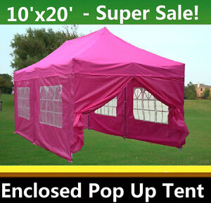 Image is loading 10-039-x20-039-Enclosed-Pop-Up-Canopy-  sc 1 st  eBay & 10u0027x20u0027 Enclosed Pop Up Canopy Party Folding Tent Gazebo - Pink ...