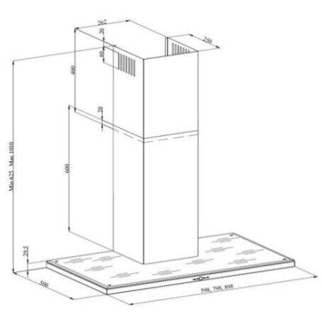 Silverline Nordic Dark 80 cm, stål m/sort glastop