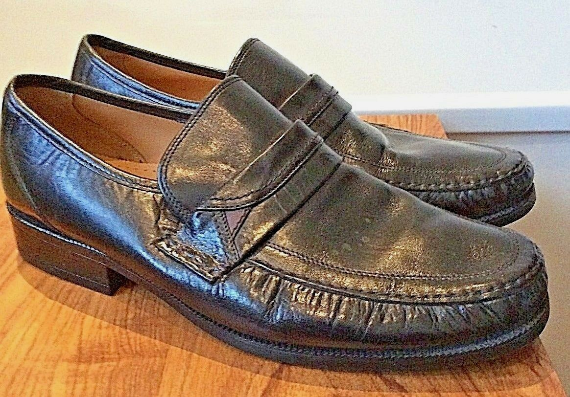 Clarks  black leather slip-on shoes man-made soles  UK 10 extra wide