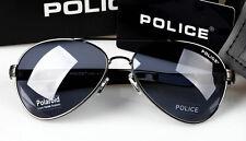 New style Men's POLICE sunglasses Driving glasses Blue lens gray frame