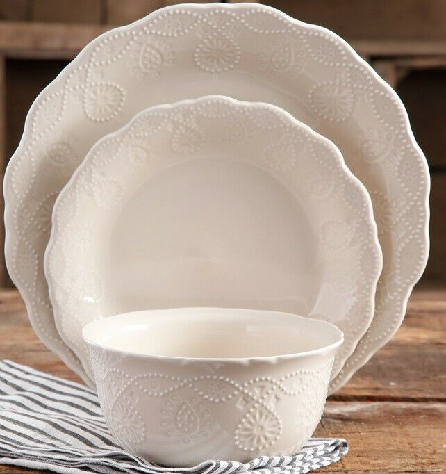 Pioneer Woman Lace Linen 12-Piece Dinnerware Set for 4 in 4 colors 2DAY SHIP