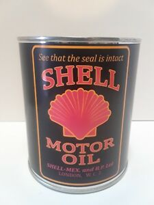 Antique-Shell-Motor-Oil-Can-1-qt-Reproduction-Tin-Collectible