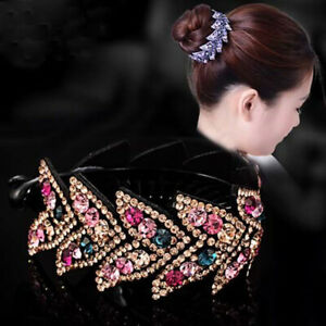 Women-039-s-Crystal-Rhinestone-Flower-Hair-Clips-Claw-Clamp-Bun-Net-Hair-Accessories