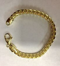 "6 Mm, 9"" Gold Plated Sterling Silver 925 FRANCO Link Bracelet"