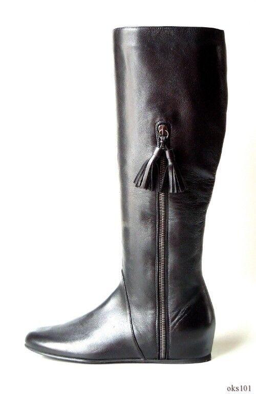 New STUART WEITZMAN schwarz leather tassels small hidden wedge TALL Stiefel 6