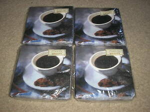 Brand-New-Lot-of-4-Packages-Coffee-Cup-Beverage-Napkins-Party-Supplies