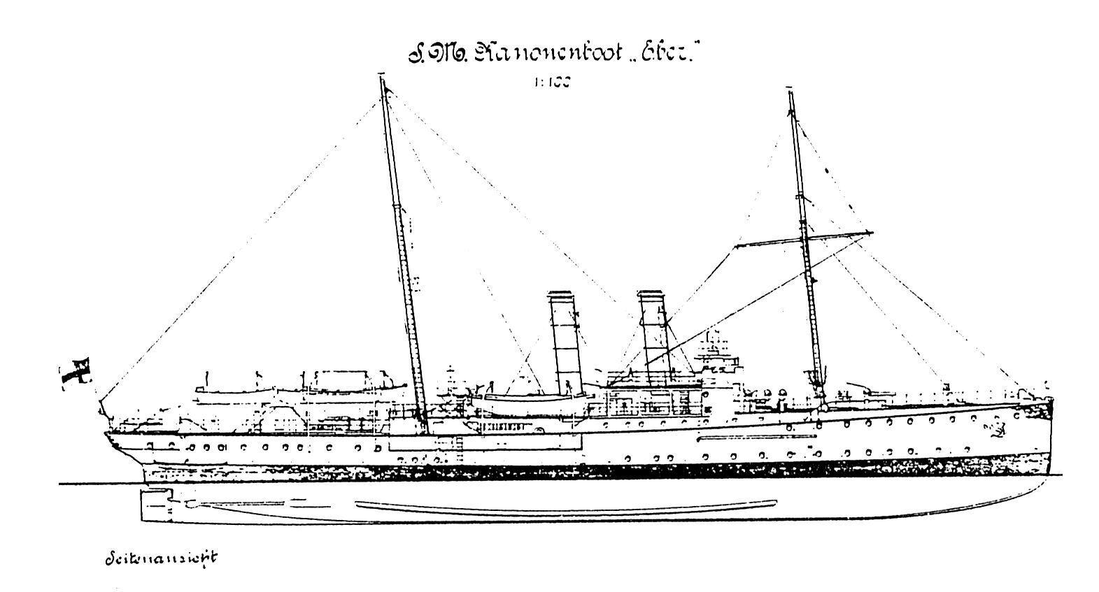 SMS eber (1902), cañonera. plan de modelismo