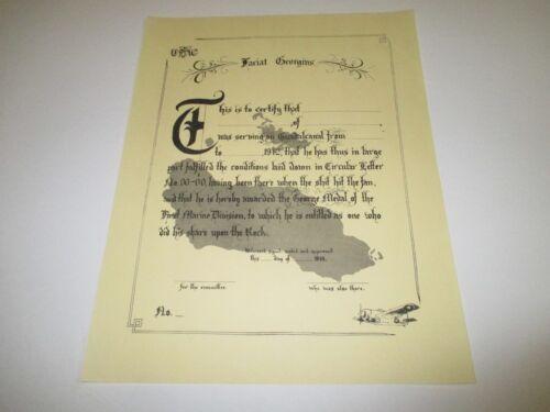 0302 WW2 US USMC GEORGE MEDAL With Document 1st Marine Div Guadalcanal  R14C