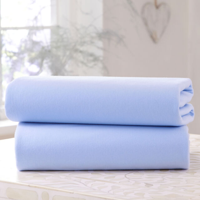 NEW CLAIR DE LUNE BLUE COT BED 2 PACK FITTED COTTON JERSEY INTERLOCK SHEETS