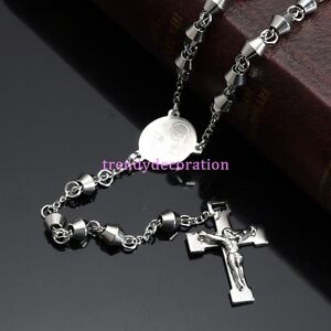 New-Silver-Rosary-Bead-Stainless-Steel-Men-Women-039-s-Cross-Pendant-Chain-Necklace